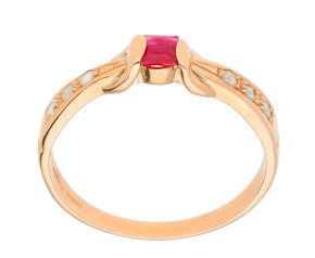 Handcrafted Italian 0.15ct Ruby & Diamond Ring