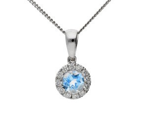 9ct White Gold 0.25ct Aquamarine & 0.10ct Diamond Cluster pendant