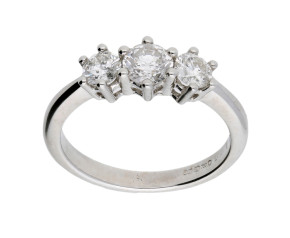 18ct White Gold Certified 0.75ct Diamond Trilogy Ring