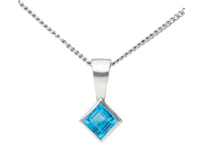 9ct White Gold 3mm Topaz Solitaire Diamond Shape Pendant
