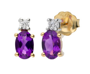 9ct Yellow & White Gold 6mm Amethyst & Diamond Oval Shape Stud Earrings