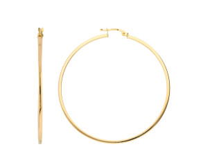 9ct Gold Large Square Edged Hoop Earrings