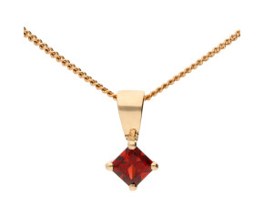 9ct Yellow Gold Square Garnet Solitaire Pendant