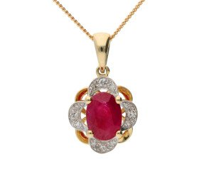 9ct Yellow Gold 0.60ct Ruby & Diamond Floral Cluster Pendant