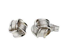 9ct White Gold Knot Stud Earrings
