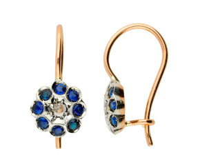 Handcrafted Italian Diamond & Sapphire Floral Drop Earrings