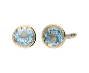 9ct Yellow Gold 3mm Aquamarine Solitaire Round Shape Stud Earrings