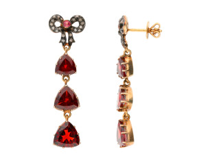 7.80ct Garnet & 0.15ct Diamond Drop Earrings