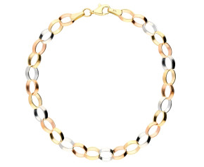 9ct Rose, White & Yellow Gold Bracelet