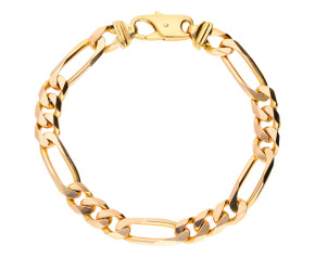 Pre-Owned 9ct Yellow Gold Men's Italian 9mm Figaro Chain Bracelet