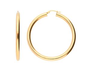 9ct Yellow Gold 46mm Tube Hoop Earrings