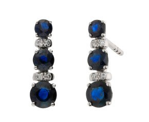 18ct White Gold 0.70ct Sapphire & Diamond Line Earrings