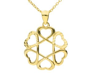 9ct Yellow Gold Circle Of Love Pendant