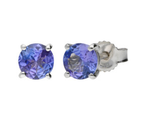 9ct White Gold 5mm Tanzanite Solitaire Round Shape Stud Earrings