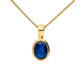 9ct Yellow Gold 0.80ct Sapphire Rub Over Solitaire Pendant