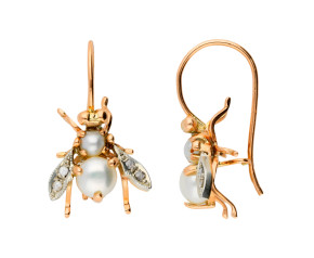 Handcrafted Italian Cultured Pearl & 0.10ct Diamond Bee Drop Earrings