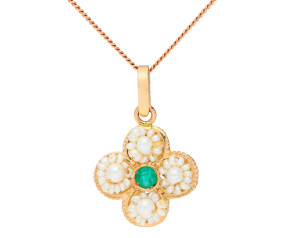 Handcrafted Italian 0.20ct Emerald & Pearl Clover Pendant