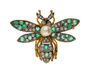 Emerald, Diamond & Pearl Bee Brooch