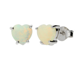 9ct White Gold 0.40ct Heart Opal Solitaire Stud Earrings