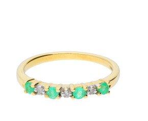 9ct Yellow Gold Emerald & Diamond Eternity Ring