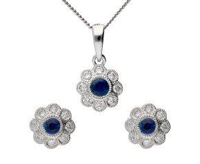 18ct White Gold Sapphire & Diamond Cluster Earrings & Pendant Jewellery Set