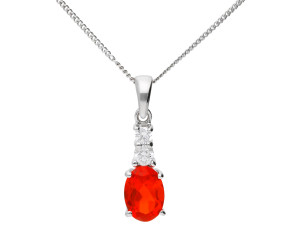 9ct White Gold 0.70ct Fire Opal & Diamond Pendant