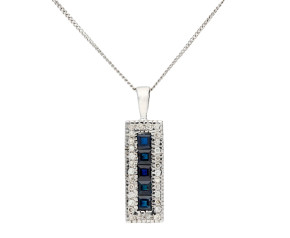 9ct White Gold 0.70ct Sapphire & 0.16ct Diamond Pendant