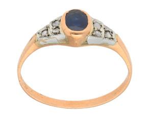 Handcrafted Italian 0.45ct Sapphire & Diamond Ring