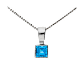 9ct White Gold 0.10ct Topaz Solitare pendant