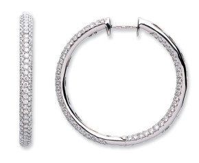 18ct White Gold 2.30ct Diamond Hoop Earrings