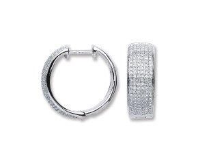 18ct White Gold 0.55ct Diamond Hoop Earrings