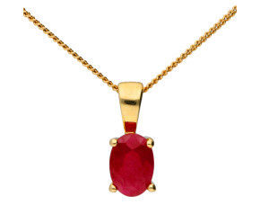 9ct Yellow Gold 0.50ct Ruby Solitaire Pendant