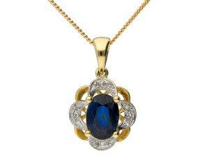 9ct Yellow Gold 1ct Sapphire & Diamond Cluster Pendant