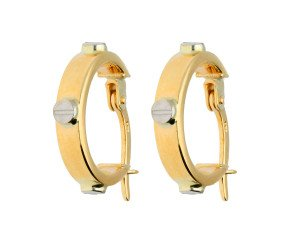 9ct Yellow & White Gold Screw Motif Small Hoop Earrings