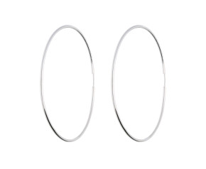 9ct White Gold 60mms Large Sleeper Hoop Earrings