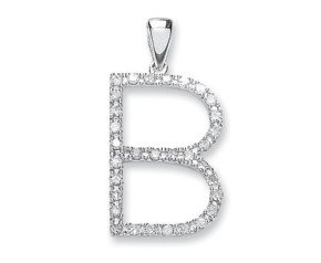 9ct White Gold Diamond Letter 'B' Pendant