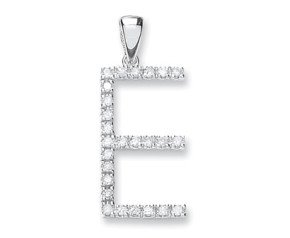 9ct White Gold Diamond Letter 'E' Pendant