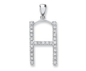 9ct White Gold Diamond Letter 'H' Pendant
