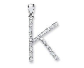 9ct White Gold Diamond Letter 'K' Pendant