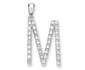 9ct White Gold Diamond Letter 'M'' Pendant