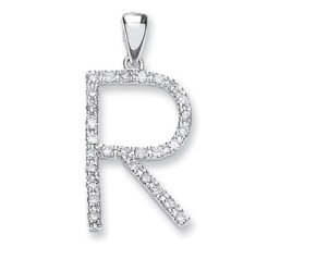 9ct White Gold Diamond Letter 'R' Pendant
