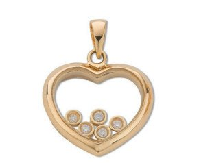 9ct Yellow Gold 0.15ct Floating Diamond Heart Pendant
