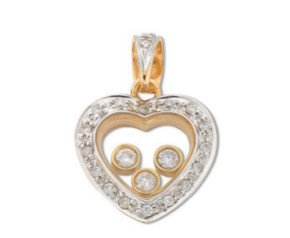9ct Yellow & White Gold Floating 0.35ct Diamond Pendant