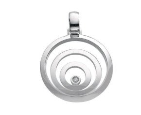 9ct White Gold Floating Diamond Circle Pendant