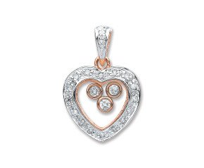 9ct Rose & White Gold 0.17ct Floating Diamond Heart Pendant