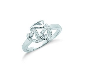 9ct White Gold 0.12ct Diamond Heart Ring