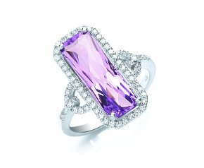 9ct White Gold 4.75ct Amethyst & 0.40ct Diamond Cluster Ring