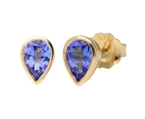 9ct Yellow Gold 0.70ct Pear Tanzanite Solitaire Stud Earrings