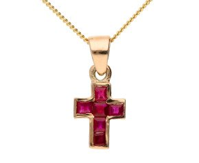 Handcrafted Italian 0.45ct Ruby Cross Pendant