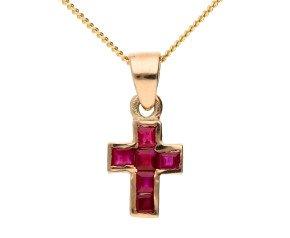 Handcrafted Italian 0.45ct Ruby Cross Pendant